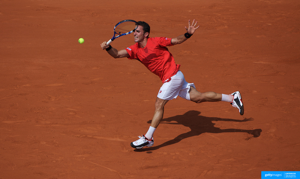 Alberto Martin of Spain  losing to Roger Federer of Switzerland  in the first round match  at the French Open Tennis Tournament at Roland Garros, Paris, France on Monday, May 25, 2009. Photo Tim Clayton.