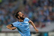 SYDNEY, AUSTRALIA - APRIL 13: Sydney FC forward Alex Brosque (14) celebrates his goal at round 25 of the Hyundai A-League Soccer between Western Sydney Wanderers and Sydney FC  on April 13, 2019 at ANZ Stadium in Sydney, Australia. (Photo by Speed Media/Icon Sportswire)