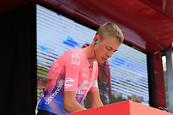 Hugh John Carthy (GBR) EF Education First at sign on before the start of Stage 4 of La Vuelta 2019 running 175.5km from Cullera to El Puig, Spain. 27th August 2019.<br /> Picture: Eoin Clarke | Cyclefile<br /> <br /> All photos usage must carry mandatory copyright credit (© Cyclefile | Eoin Clarke)