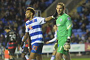 Reading's Danny Williams and Queens Park Rangers goalkeeper Rob Green during the Sky Bet Championship match between Reading and Queens Park Rangers at the Madejski Stadium, Reading, England on 3 December 2015. Photo by Mark Davies.