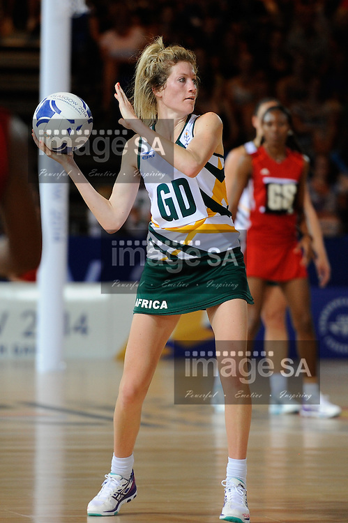 GLASGOW, SCOTLAND - JULY 25: Karla Mostert of South Africa on attack during the netball match between South Africa and Trinidad and Tobago on day 2 of the 20th Commonwealth Games at Scottish Exhibition Centre on July 25, 2014 in Glasgow, Scotland. (Photo by Roger Sedres/ImageSA)