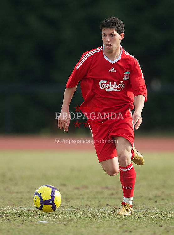 WIGAN, ENGLAND - Wednesday, March 17, 2010: Liverpool Reserves' Daniel Pacheco in action against Wigan Athletic Reserves during the Lancashire Senior Cup Semi-Final at the Robin Park Sports Arena. (Photo by David Rawcliffe/Propaganda)
