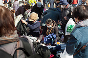 clothing and old fabric flea market Japan