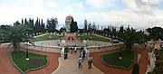 Israel, Haifa, The Bahai Gardens and temple. Haifa port and bay of Haifa in the background.