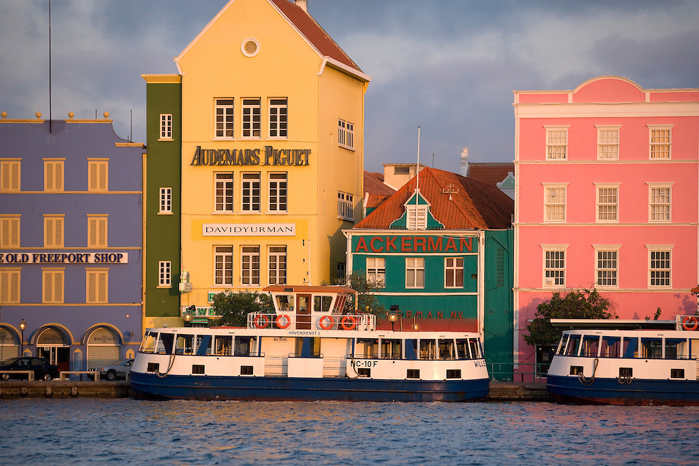 Willemstad Harbor at dusk, Curacao, Netherlands Antilles