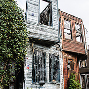 Abandoned old, traditional wooden houses in Istanbul's Cankurtaran district near the Blue Mosque.