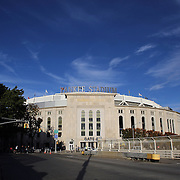 An exterior view of Yankee Stadium during the New York Yankees V Tampa Bay Rays Baseball game at Yankee Stadium, The Bronx, New York. 25th September 2013. Photo Tim Clayton
