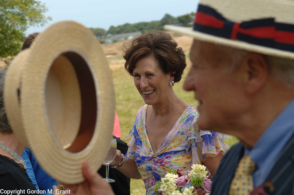 Southampton, NY - 8/28/05 - Styles - Vows - The wedding of Fern Schad and Alfred Moses in Southampton, NY August 28, 2005. After ceremony greeting guests. (Photo by Gordon M. Grant)<br />