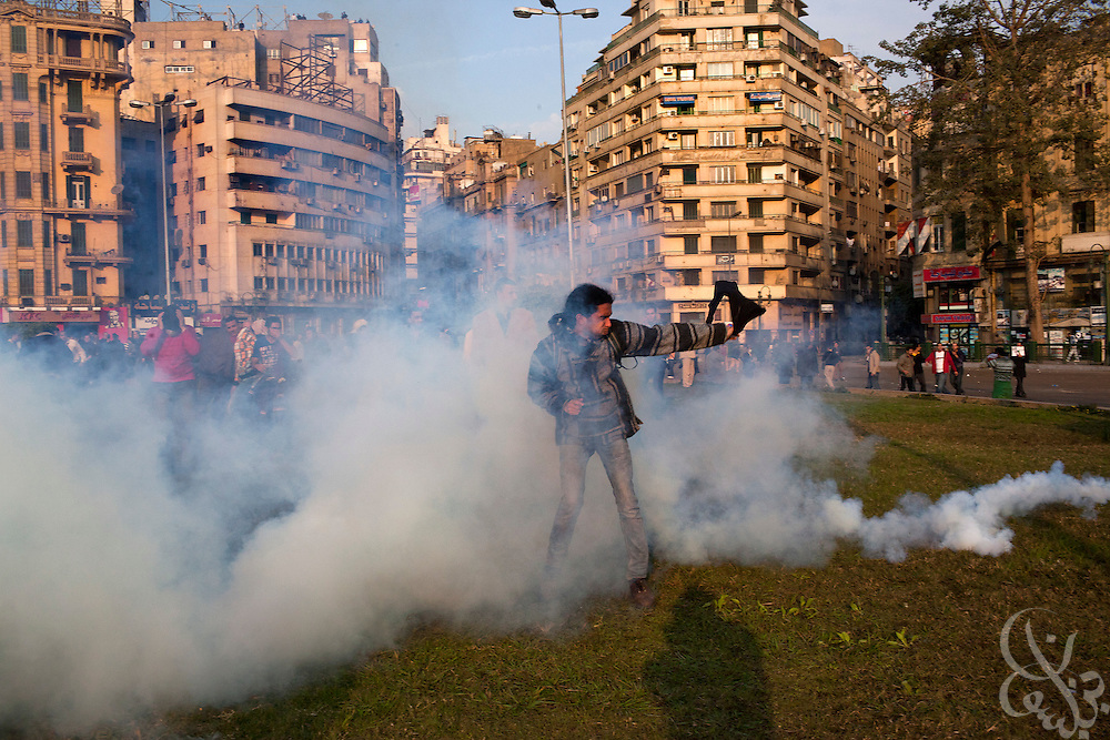 "Thousands of protesters are tear gassed by Egyptian riot police during January 25, 2011 ""Day of Anger"" demonstrations in downtown Cairo, Egypt. Today's protests across Egypt, inspired by the revolution in Tunisia, were organized by a wide range of opposition groups and intended to spark a similar movement in Egypt. Slug: Egypt.Credit: Scott Nelson for the New York Times"