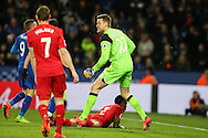 Simon Mignolet of Liverpool (centre) berates his defence during the Premier League match at the King Power Stadium, Leicester<br /> Picture by Andy Kearns/Focus Images Ltd 0781 864 4264<br /> 27/02/2017