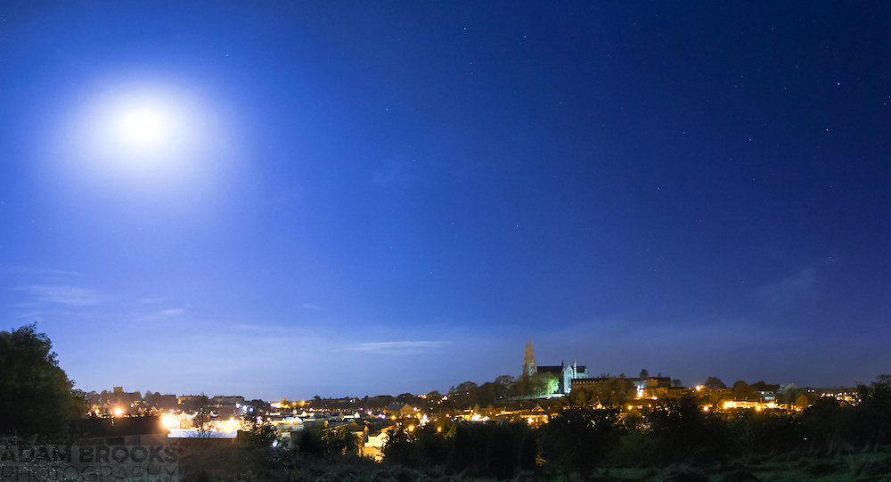 View overlooking the city of Armagh by moonlight including the Protestant and Roman Catholic St. Patrick Cathedrals.