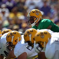 April 9, 2011; Baton Rouge, LA, USA; LSU Tigers quarterback Jordan Jefferson (9) under center during the 2011 Spring Game at Tiger Stadium.   Mandatory Credit: Derick E. Hingle