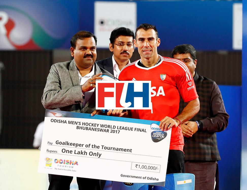 Odisha Men's Hockey World League Final Bhubaneswar 2017<br /> Match id:<br /> Ceremony<br /> Foto: keeper Juan Vivaldi (Arg) Goalkeeper of the Tournament <br /> WORLDSPORTPICS COPYRIGHT KOEN SUYK