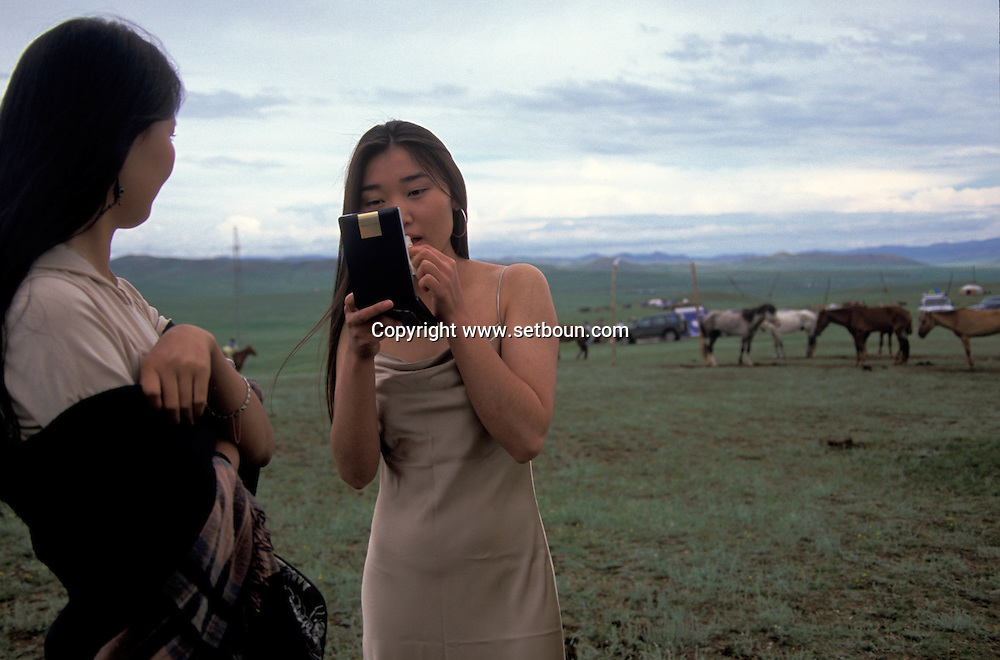 Mongolia. Ulaanbaatar. casting and fashion pictures in the steppe, in Hundlun balag ,  with  LOOK agency of mr Honondorj  Ulanbaatar