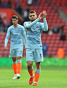 Mateo Kovacic (17) of Chelsea applauds the fans at full time after beating Southampton 3-0 during the Premier League match between Southampton and Chelsea at the St Mary's Stadium, Southampton, England on 7 October 2018.