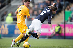Morton&rsquo;s Ross Forbes brings down Falkirk's Blair Alston. <br /> Falkirk 1 v 0 Morton, Scottish Championship game  played 1/5/2016 at The Falkirk Stadium.