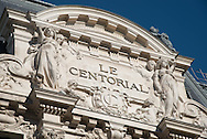 France . Paris. 2nd district. Le centorial old building with sculpture on Rue Reaumur