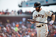 San Francisco Giants left fielder Mac Williamson (51) checks out his bat after hitting a foul ball against the St. Louis Cardinals at AT&T Park in San Francisco, California, on September 3, 2017. (Stan Olszewski/Special to S.F. Examiner)