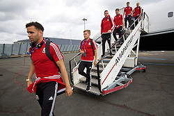 LILLE, FRANCE - Wednesday, June 15, 2016: Wales' Hal Robson-Kanu, George Williams and goalkeeper Daniel Ward arrive in at Lille Lesquin International Airport as for their Group Stage MD 2 game of the UEFA Euro 2016 Championship against England. (Pic by David Rawcliffe/Propaganda)