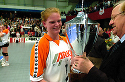 15-04-2001 VOLLEYBAL: ARKE POLLUX - SLIEDRECHT SPORT: DEN BOSCH<br /> Arke Pollux wint de bekerfinale met 3-2 / Diane Rademaker en Herman van Zwieten<br /> &copy;2001-WWW.FOTOHOOGENDOORN.NL