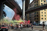 Roma  25 Maggio 2012.No Ticket Day Atac non ti pago!.Protesta contro l'aumento del prezzo del biglietto integrato del trasporto urbano, che passa da un euro a un euro e 50 davanti alla sede di Atac di via Prenestina.