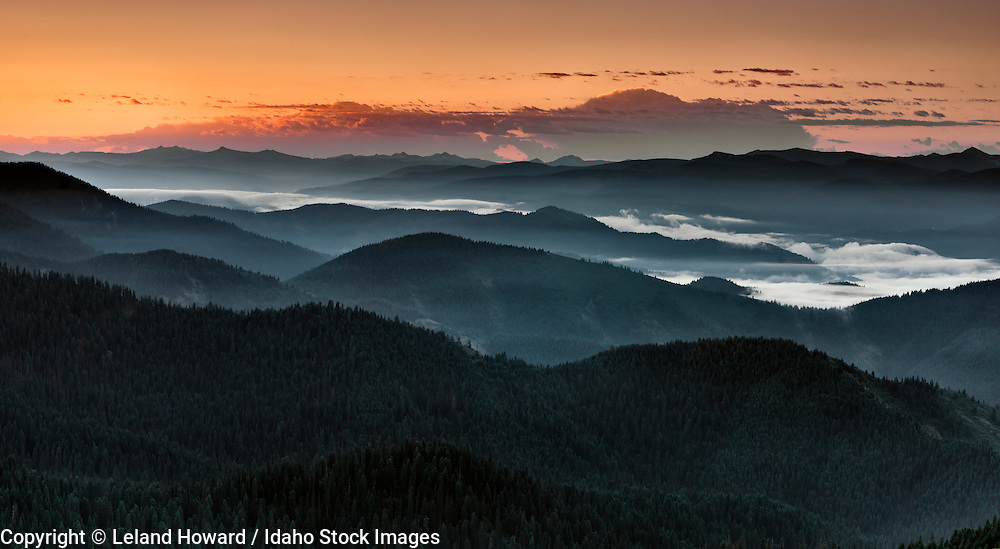 Idaho, north central, sunrise over Lochsa River Canyon and the Clearwater National Forest from the Lolo Indian Trail followed by Lewis and Clark