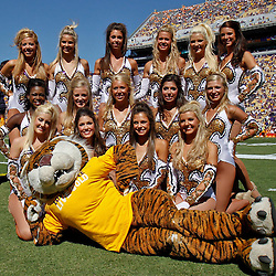 Oct 2, 2010; Baton Rouge, LA, USA; The LSU Tigers Golden Girls pose with mascot Mike the Tiger prior to kickoff of a game between the LSU Tigers and the Tennessee Volunteers at Tiger Stadium.  Mandatory Credit: Derick E. Hingle