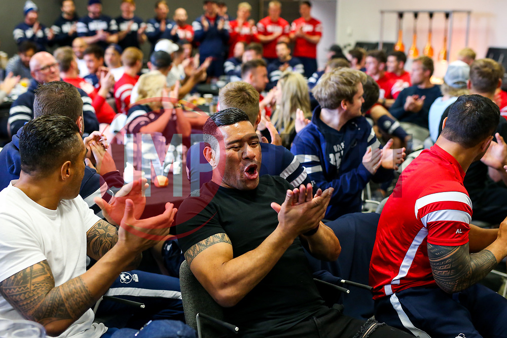 Siale Piutau looks on as the Bristol Bears squad gather to make presentations to departing players after the Bristol Bears Team Run ahead of the Sale Sharks Game - Rogan/JMP - 02/05/2019 - RUGBY UNION - Ashton Gate Stadium - Bristol, England - Bristol Bears v Sale Sharks - Gallagher Premiership Rugby.