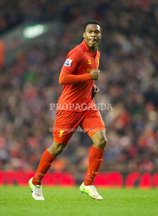 LIVERPOOL, ENGLAND - Saturday, January 19, 2013: Liverpool's new signing Daniel Sturridge in action against Norwich City during the Premiership match at Anfield. (Pic by David Rawcliffe/Propaganda)