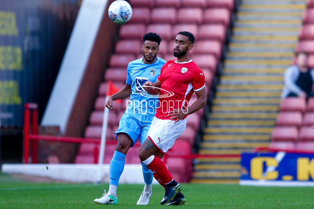 Coventry City defender Jordan Willis (4) plays the ball long  during the Pre-Season Friendly match between Barnsley and Coventry City at Oakwell, Barnsley, England on 18 July 2017. Photo by Simon Davies.