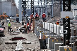 Crew preparing platform forms for Pour. Construction Progress Photography of the Railroad Station at Fairfield Metro Center - Site visit 9 of once per month Chronological Documentation.