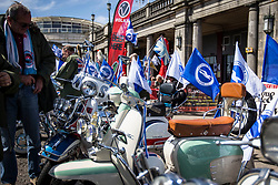 A local group of mopeds ride in displaying Brighton & Hove Albion flags and colours - Mandatory by-line: Jason Brown/JMP - 14/05/17 - FOOTBALL - Brighton and Hove Albion, Sky Bet Championship 2017 - Brighton and Hove Albion Promotion Parade