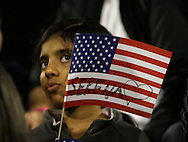 Barclays Dubai Tennis Championships,WTA Tennis Tour United Arab Emirates,Semi-final,Serena Williams Fan with US flag in the stands.<br /> Foto: Juergen Hasenkopf.