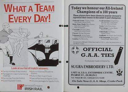 All Ireland Senior Hurling Championship Final, .06.09.1987, 09.06.1987, 6th September 1987, .Kilkenny v Galway, .Galway 1-12, Kilkenny 0-9,.06091987AISHCF, .Senior Kilkenny v Galway,.Minor Tipperary v Offaly,  ..Irish Rail, Official GAA Ties,