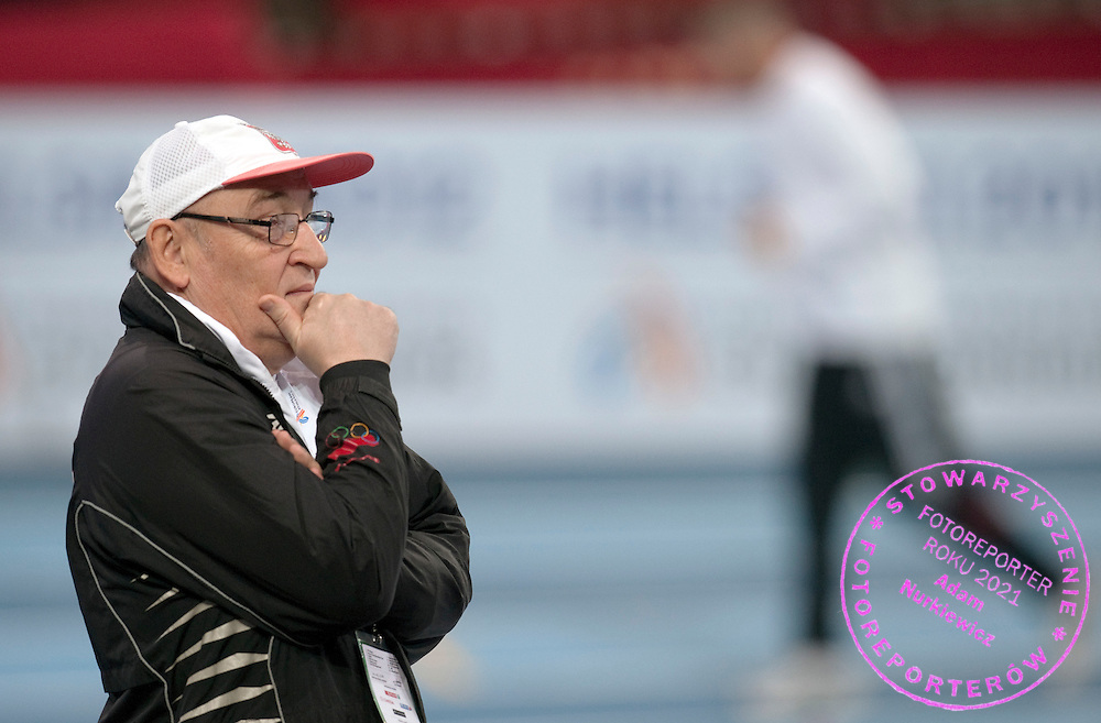 TRAINER COACH JOZEF LISOWSKI (POLAND)  DURING OFFICIAL TRAINING SESSION AT BERCY HALL ONE DAY BEFORE EUROPEAN ATHLETICS INDOOR CHAMPIONSHIPS PARIS 2011...PARIS , FRANCE , MARCH 03, 2011..( PHOTO BY ADAM NURKIEWICZ / MEDIASPORT )..PICTURE ALSO AVAIBLE IN RAW OR TIFF FORMAT ON SPECIAL REQUEST.