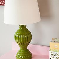 Painted lamp on vintage desk