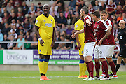 AFC Wimbledon striker Tom Elliott (9) in action during the EFL Sky Bet League 1 match between Northampton Town and AFC Wimbledon at Sixfields Stadium, Northampton, England on 20 August 2016. Photo by Stuart Butcher.