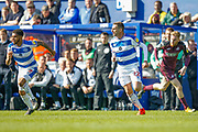 Queens Park Rangers defender Darnell Furlong (2) and Queens Park Rangers defender Angel Rangel (22) during the EFL Sky Bet Championship match between Queens Park Rangers and Swansea City at the Loftus Road Stadium, London, England on 13 April 2019.