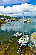 Panorama of Roundstone harbour and the Twelve Bens mountain range, Connemara, County Galway, Ireland
