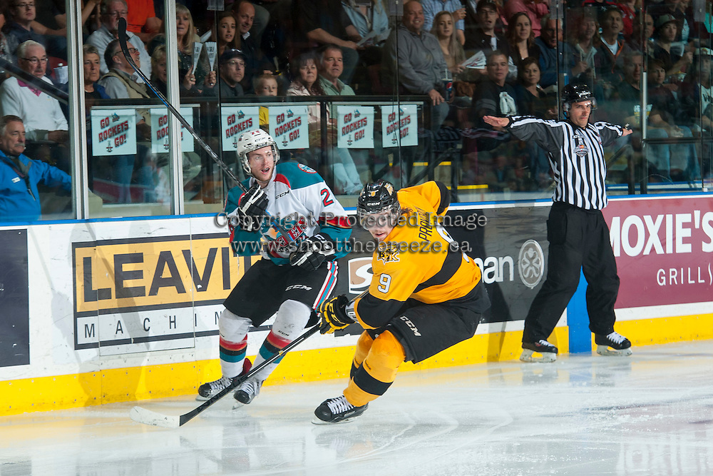 KELOWNA, CANADA - MAY 13: Cole Linaker #26 of Kelowna Rockets skates beside Ivan Provorov #9 of Brandon Wheat Kings on May 13, 2015 during game 4 of the WHL final series at Prospera Place in Kelowna, British Columbia, Canada.  (Photo by Marissa Baecker/Shoot the Breeze)  *** Local Caption *** Ivan Provorov; Cole Linaker;