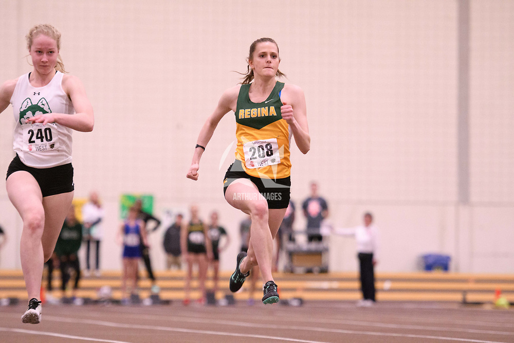 Laura Huck in action during the 2018 Canada West Track & Field Championship on February  24 at James Daly Fieldhouse. Credit: Arthur Ward/Arthur Images