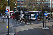 The faces of advertising on the sides of London buses at Elephant & Castle, on 9th November 2018, in London England.
