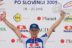 Winner Marko Kump (SLO) of Adria Mobil at medal cermony in Novo mesto after 4th stage of Tour de Slovenie 2009 from Sentjernej to Novo mesto, 153 km, on June 21 2009, Slovenia. (Photo by Vid Ponikvar / Sportida)