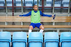 BIRMINGHAM, ENGLAND - Saturday, August 25, 2012: Everton's John Heitinga alone on the substitute's bench against Aston Villa during the Premiership match at Villa Park. (Pic by David Rawcliffe/Propaganda)