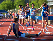 Cooper Teare, (1), a distance runner for St. Joseph High School of Alameda, reacts after he finished short of the sub 4:00 minute mile at the Sacramento Meet of Champions at American River College, Saturday Apr 29, 2017. <br /> photo by Brian Baer