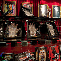 MACAU - FEBRUARY 01:  Souvernirs are displayed for sale in the the Michael Jackson Gallery souvenir shop during the opening ceremony of the MJ Gallery at Ponte 16 Resort-Macau on February 1, 2010 in Macau, China.  Photo by Victor Fraile / studioEAST