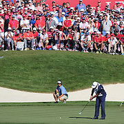 Ryder Cup 2016. Day Three. Phil Mickelson of the United States putting on the sixteenth during the Sunday singles competition at  the Ryder Cup tournament at Hazeltine National Golf Club on October 02, 2016 in Chaska, Minnesota.  (Photo by Tim Clayton/Corbis via Getty Images)