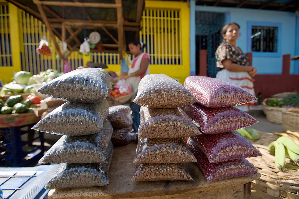 """A variety of beans for sale in the market in Masatepe. Matatepe is one of the """"Los Pueblos Blancos, a series of towns on the central plateau of Nicaragua. It is located close to Granada, Nicaragua."""