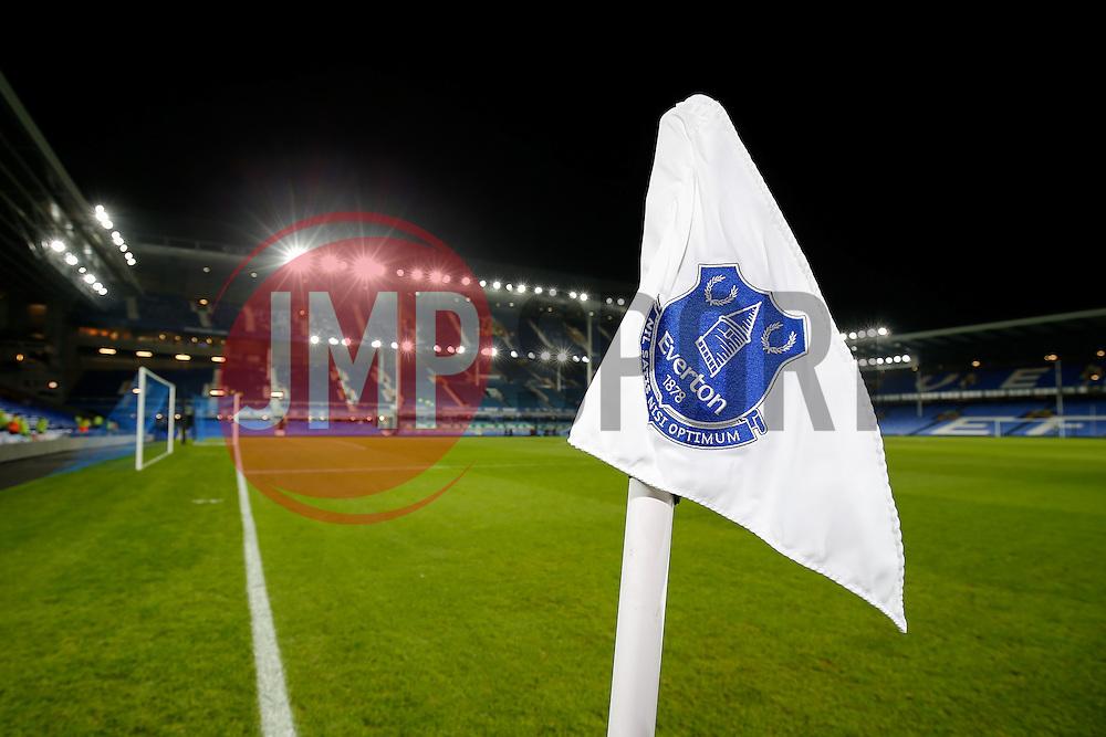 General View of an Everton corner flag inside Goodison Park - Photo mandatory by-line: Rogan Thomson/JMP - 07966 386802 - 03/12/2014 - SPORT - FOOTBALL - Liverpool, England - Goodison Park - Everton v Hull City - Barclays Premier League.
