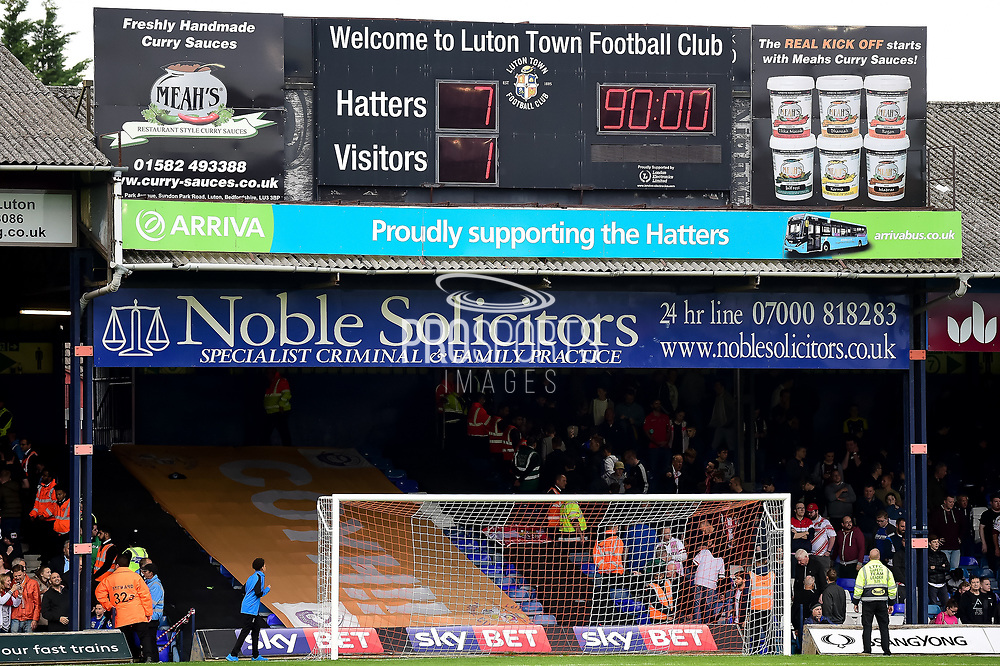 The Match scoreboard showing todays score of 7-1 during the EFL Sky Bet League 2 match between Luton Town and Stevenage at Kenilworth Road, Luton, England on 14 October 2017. Photo by Dennis Goodwin.
